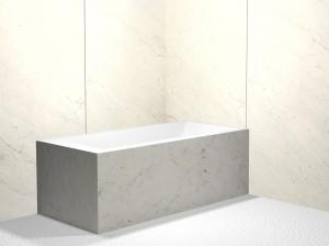 White Carrara marble shower surround.