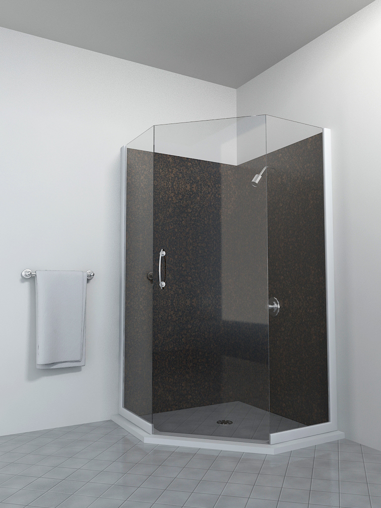 Granite corner shower.